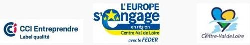 Logo CCI Entreprendre, logo Europe Feder, logo région Centre Val de Loire